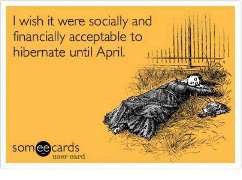 Ee Cards: I wish it were socially and  financially acceptable to  hibernate until April.  Som ee  cards  user card.
