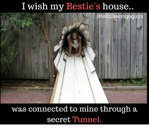 secret tunnel: I wish my Bestie's house..  letdissemgo  was connected to mine through a  secret Tunnel.