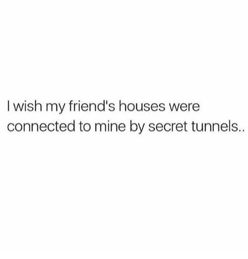 secret tunnel: I wish my friend's houses were  connected to mine by secret tunnels..