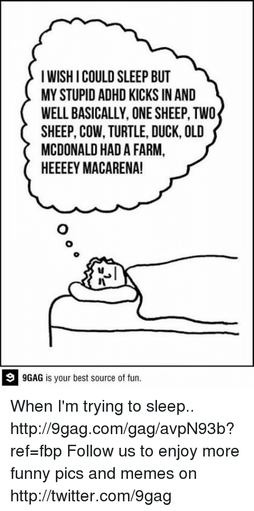 9gag, Dank, and Funny: I WISHICOULD SLEEP BUT  MYSTUPID ADHD KICKS IN AND  WELL BASICALLY, ONE SHEEP, TWO  SHEEP, COW, TURTLE, DUCK, OLD  MCDONALD HAD A FARM,  HEEEEY MACA RENA!  9 GAG is your best source of fun When I'm trying to sleep.. http://9gag.com/gag/avpN93b?ref=fbp  Follow us to enjoy more funny pics and memes on http://twitter.com/9gag