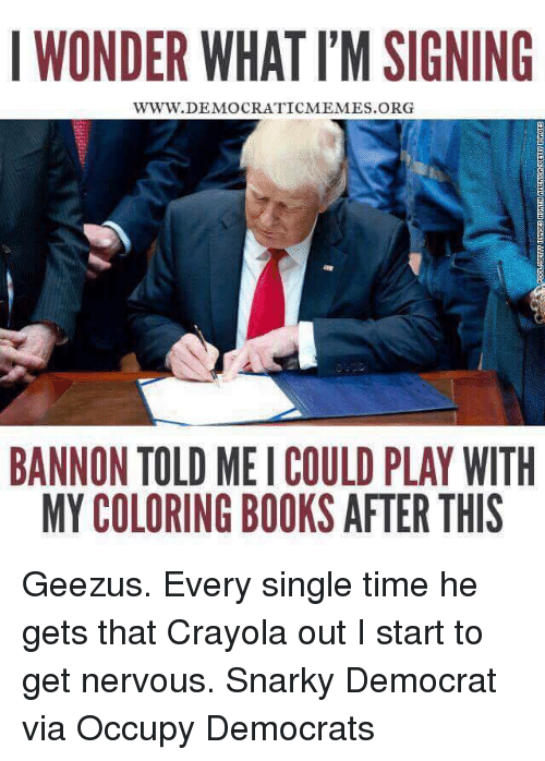 Books, Memes, and Book: I WONDER WHATI'MSIGNING  WWW. DEMOCRATICMEMES ORG  BANNON TOLD MEI COULD PLAY WITH  MY COLORING BOOKS AFTER THIS Geezus. Every single time he gets that Crayola out I start to get nervous.   Snarky Democrat via Occupy Democrats