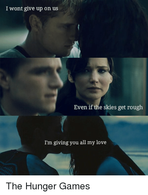 i wont give up: I wont give up on us  Even if the skies get rough  I'm giving you all my love The Hunger Games
