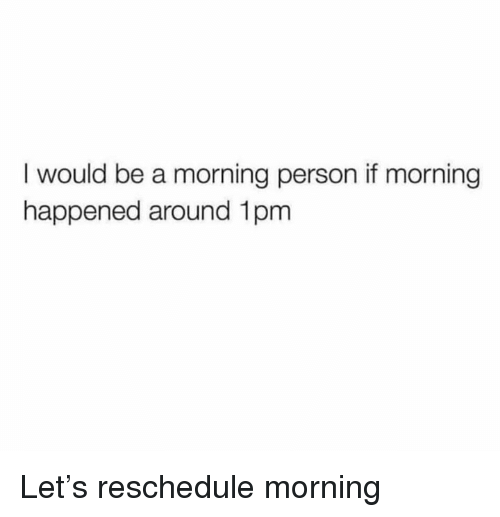 Dank, 🤖, and Person: I would be a morning person if morning  happened around 1pm Let's reschedule morning