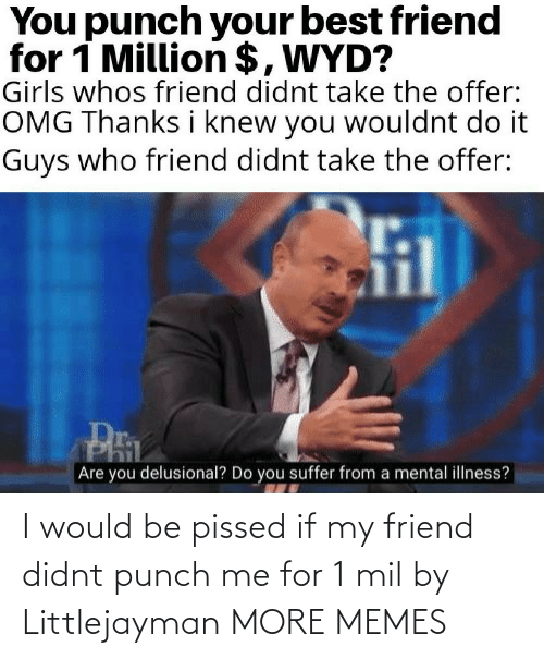 i would: I would be pissed if my friend didnt punch me for 1 mil by Littlejayman MORE MEMES