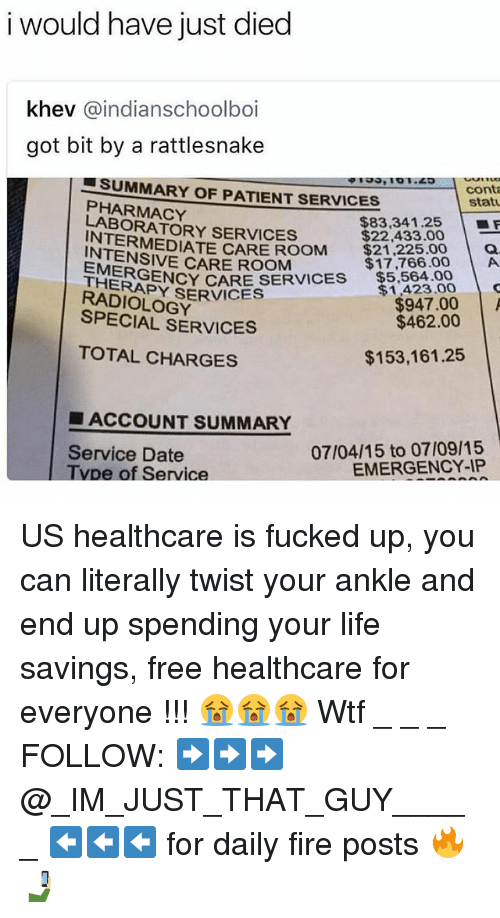 Fire, Life, and Memes: i would have just diec  khev @indianschoolboi  got bit by a rattlesnake  SUMMARY OF PATIENT SERVICES  cont  statu  PHARMACY  LABORATORY SERVICES  $83,341.25 | ■F  $22,433.00  INTERMEDIATE CARE ROOM21.78.00A  INTENSIVE CARE ROOM  $17,766.00  .$5,504.00  をAGENCY CARE SERVICES  RADIOLOGY  EME  THERAPY  $1,423.00 C  $947.00  $462.00  SPECIAL SERVICES  TOTAL CHARGES  $153,161.25  ■ ACCOUNT SUMMARY  Service Date  Tvpe of Service  07/04/15 to 07/09/15  EMERGENCY-IP US healthcare is fucked up, you can literally twist your ankle and end up spending your life savings, free healthcare for everyone !!! 😭😭😭 Wtf _ _ _ FOLLOW: ➡➡➡@_IM_JUST_THAT_GUY_____ ⬅⬅⬅ for daily fire posts 🔥🤳🏼