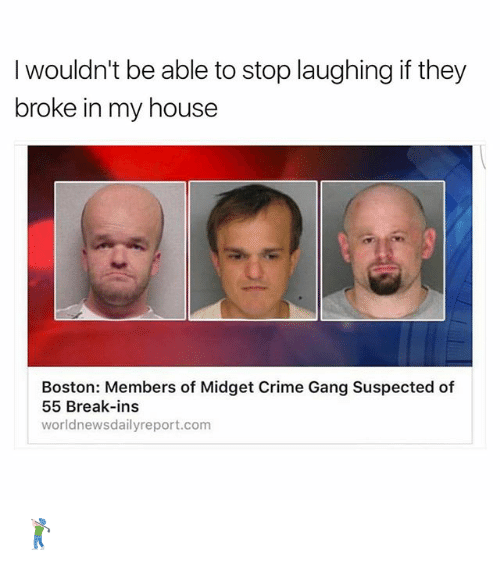 Crime, Memes, and My House: I wouldn't be able to stop laughing if they  broke in my house  Boston: Members of Midget Crime Gang Suspected of  55 Break-ins  worldnewsdailyreport.com 🏌🏻