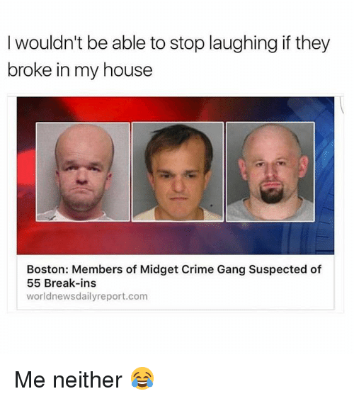 Crime, Memes, and My House: I wouldn't be able to stop laughing if they  broke in my house  Boston: Members of Midget Crime Gang Suspected of  55 Break-ins  world newsdailyreport.com Me neither 😂