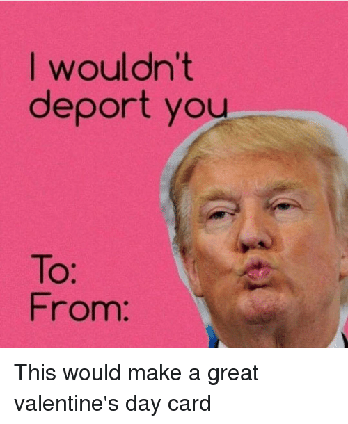 Memes, Valentine's Day, and 🤖: I wouldn't  deport you  From: This would make a great valentine's day card