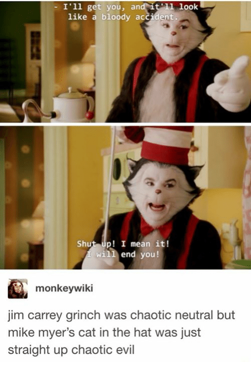 cat in the hat: - I'1l get you, and it look  like a bloody accident  Shut up! I mean it!  will end you!  monkeywiki  jim carrey grinch was chaotic neutral but  mike myer's cat in the hat was just  straight up chaotic evil
