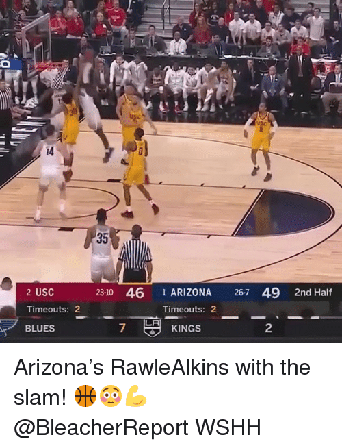 Memes, Wshh, and Arizona: i4  35  23-10 46 1 ARIZONA 267 49 2nd Half  2 USC  Timeouts: 2  BLUES  Timeouts: 2  LA  7  KINGS  2 Arizona's RawleAlkins with the slam! 🏀😳💪 @BleacherReport WSHH