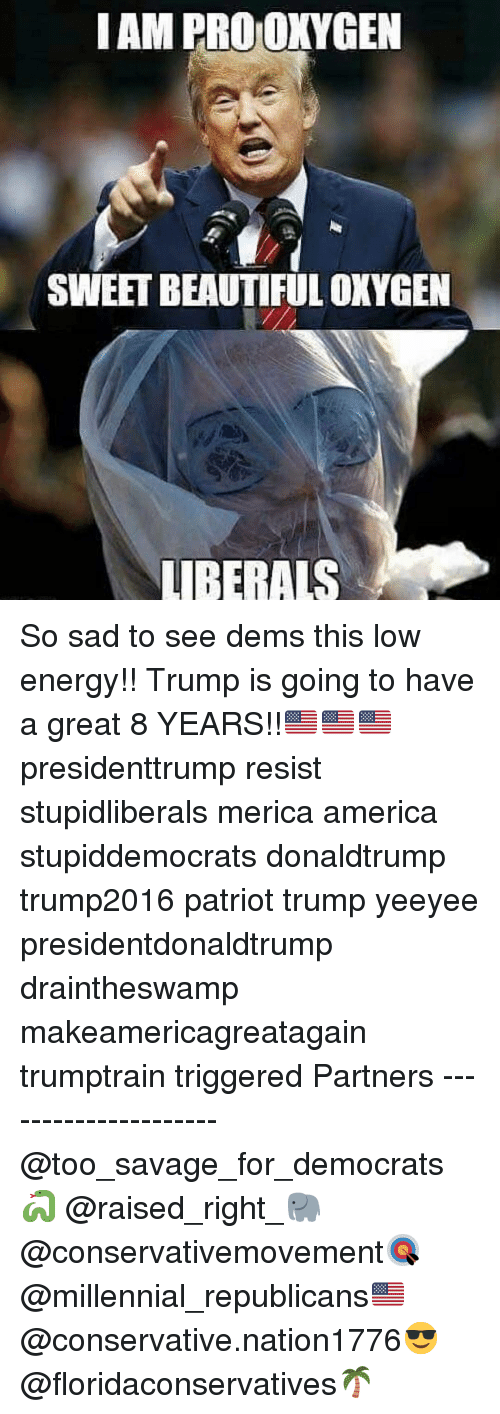 America, Beautiful, and Energy: IAM PRO OKYGEN  SWEET BEAUTIFUL OXYGEN  LUIBERALS So sad to see dems this low energy!! Trump is going to have a great 8 YEARS!!🇺🇸🇺🇸🇺🇸 presidenttrump resist stupidliberals merica america stupiddemocrats donaldtrump trump2016 patriot trump yeeyee presidentdonaldtrump draintheswamp makeamericagreatagain trumptrain triggered Partners --------------------- @too_savage_for_democrats🐍 @raised_right_🐘 @conservativemovement🎯 @millennial_republicans🇺🇸 @conservative.nation1776😎 @floridaconservatives🌴