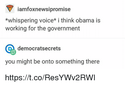 Obama, Voice, and Government: iamfoxnewsipromise  *whispering voice i think obama is  working for the government  Q democratsecrets  you might be onto something there https://t.co/ResYWv2RWI