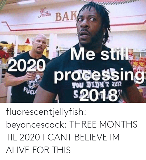 Cant Believe: Iamith's  BAK  Me stil  2020  pracessing  FOu DIDNT JUT  FUEH  2018 fluorescentjellyfish:  beyoncescock: THREE MONTHS TIL 2020 I CANT BELIEVE IM ALIVE FOR THIS
