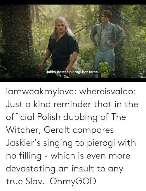 Slav: iamweakmylove:  whereisvaldo:  Just a kind reminder that in the official Polish dubbing of The Witcher, Geralt compares Jaskier's singing to pierogi with no filling - which is even more devastating an insult to any true Slav.    OhmyGOD