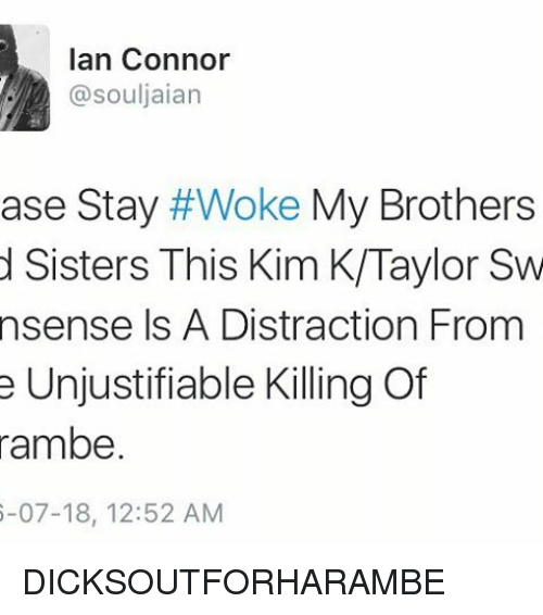 stay woke: Ian Connor  @souljaian  ase Stay  #Woke My Brothers  d Sisters This Kim K/Taylor Sw  nsense Is A Distraction From  e Unjustifiable Killing Of  rambe.  6-07-18, 12:52 AM DICKSOUTFORHARAMBE