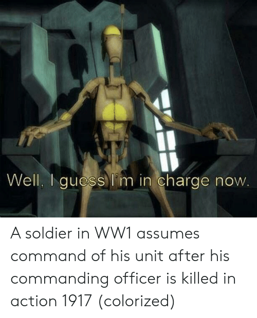 ww1: Ib  Well Iguess l'm in charge now A soldier in WW1 assumes command of his unit after his commanding officer is killed in action 1917 (colorized)