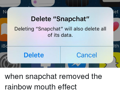 """Snapchat, Rainbow, and Girl Memes: iBc  Delete """"Snapchat""""  Deleting """"Snapchat"""" will also delete all  of its data.  Delete  Cancel  et  th when snapchat removed the rainbow mouth effect"""