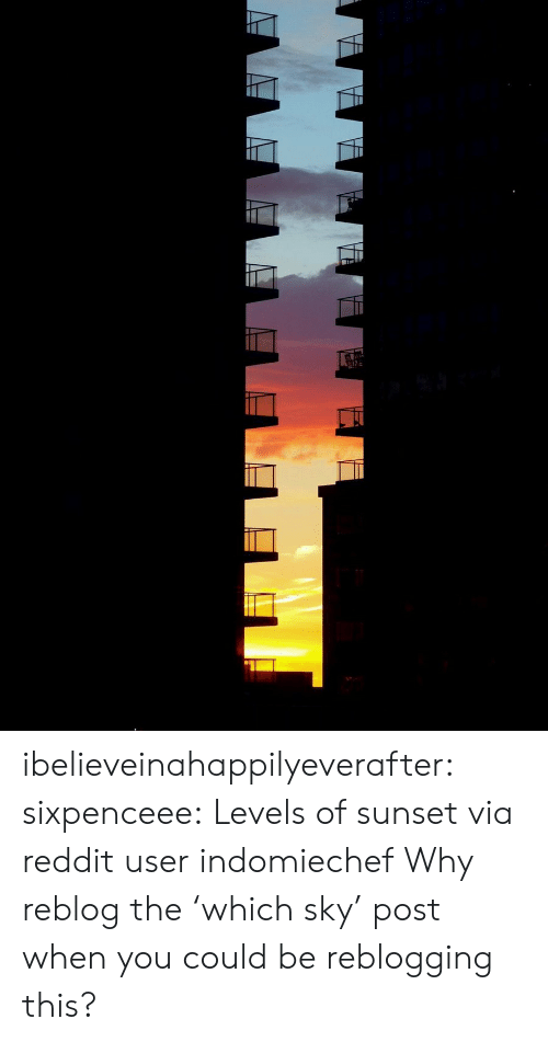 Sunset: ibelieveinahappilyeverafter:  sixpenceee: Levels of sunset via reddit userindomiechef Why reblog the 'which sky' post when you could be reblogging this?