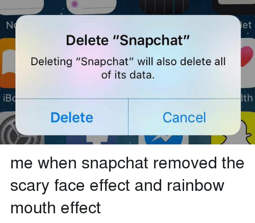 """Snapchat, Rainbow, and Girl Memes: iBo  Delete """"Snapchat""""  Deleting """"Snapchat"""" will also delete all  of its data.  Delete  Cancel  et  th me when snapchat removed the scary face effect and rainbow mouth effect"""