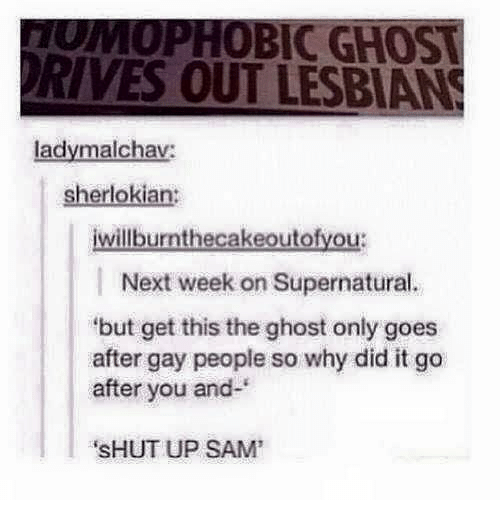 "Driving, Lesbians, and Memes: IC GHOS  DRIVES OUT LESBIANS  ladymalchav:  sherlokia  illburnthecakeoutofyo  l Next week on Supernatural.  ""but get this the ghost only goes  after gay people so why did it go  after you and  SHUT UP SAM'"