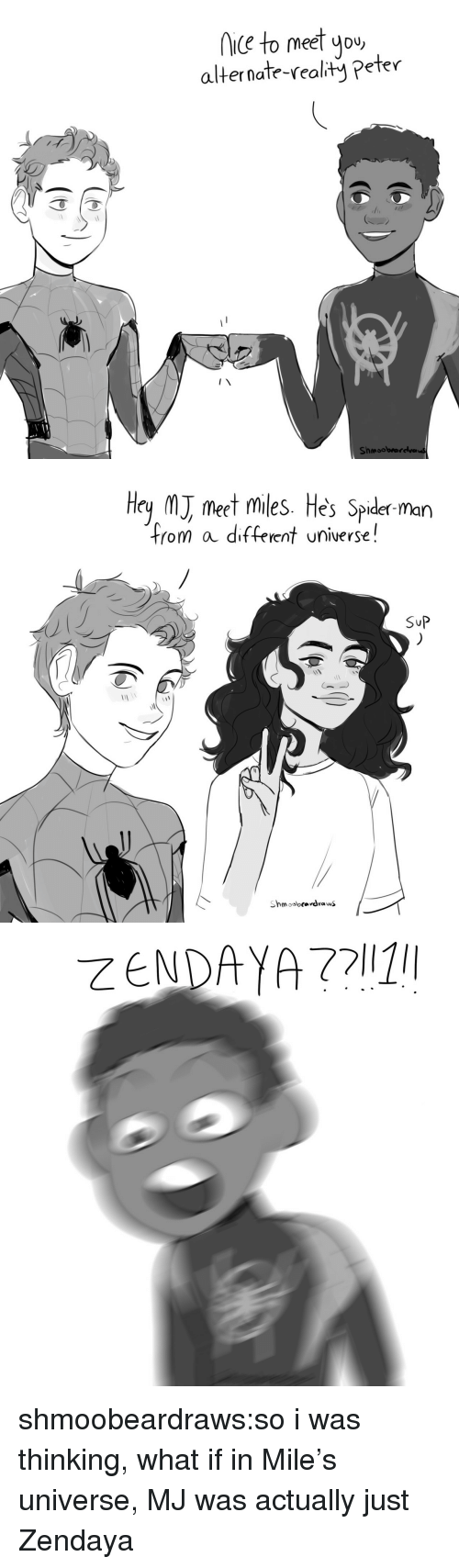 Zendaya: iC to meet you  alternate-realty Peter  Shmoobrarelva   Hey M meet miles. He's Spider man  from a different universe!  SuP shmoobeardraws:so i was thinking, what if in Mile's universe, MJ was actually just Zendaya