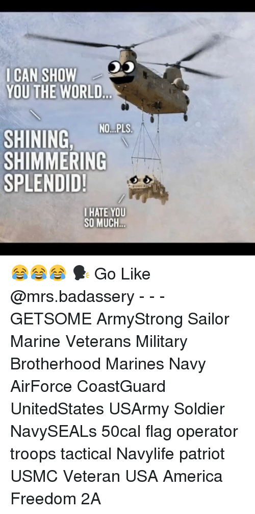 America Freedom: ICAN SHOW  YOU THE WORLD  SHINING NO.PLS  SHIMMERING  SPLENDID!  IHATE YOU  SO MUCH 😂😂😂 🗣 Go Like @mrs.badassery - - - GETSOME ArmyStrong Sailor Marine Veterans Military Brotherhood Marines Navy AirForce CoastGuard UnitedStates USArmy Soldier NavySEALs 50cal flag operator troops tactical Navylife patriot USMC Veteran USA America Freedom 2A