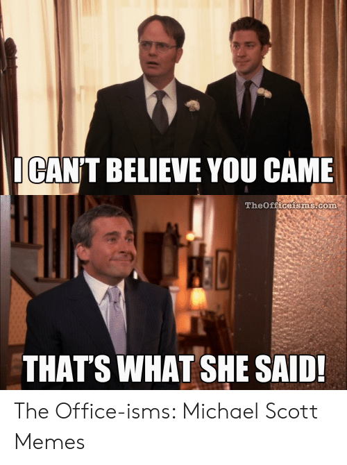 Michael Scott Memes: ICAN'T BELIEVE YOU CAME  Theoficeisms com  THAT'S WHAT SHE SAID The Office-isms: Michael Scott Memes