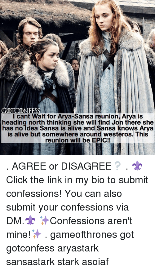 Starked: Icant Wait for Arva-Sansa reunion, Arva is  heading north thinking she will find Jon there she  has no ldea Sansa is alive and Sansa knows Arya  is alive but somewhere around westeros. This  reunion will be EPIC! . AGREE or DISAGREE❔ . ⚜Click the link in my bio to submit confessions! You can also submit your confessions via DM.⚜ ✨Confessions aren't mine!✨ . gameofthrones got gotconfess aryastark sansastark stark asoiaf