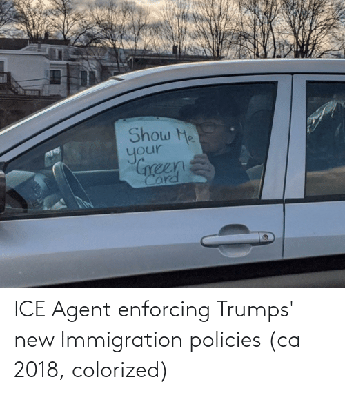Immigration: ICE Agent enforcing Trumps' new Immigration policies (ca 2018, colorized)
