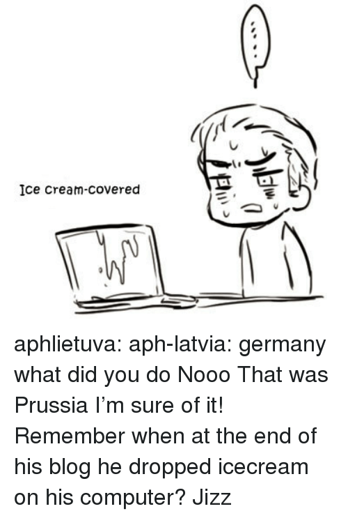 Icecream: Ice Cream-covered aphlietuva:  aph-latvia: germany what did you do   Nooo That was Prussia I'm sure of it! Remember when at the end of his blog he dropped icecream on his computer?  Jizz