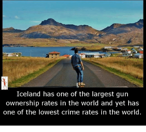 Crime, Memes, and Iceland: Iceland has one of the largest gun  ownership rates in the world and yet has  one of the lowest crime rates in the world.