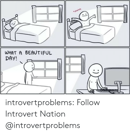 What A Beautiful Day: ich  estre  WHAT A BEAUTIFUL  DAY introvertproblems:  Follow Introvert Nation @introvertproblems