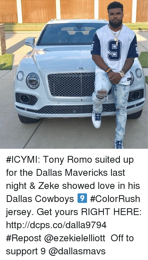 romos: #ICYMI: Tony Romo suited up for the Dallas Mavericks last night & Zeke showed love in his Dallas Cowboys 9️⃣ #ColorRush jersey. Get yours RIGHT HERE: http://dcps.co/dalla9794 ・・・ #Repost @ezekielelliott ・・・ Off to support 9 @dallasmavs