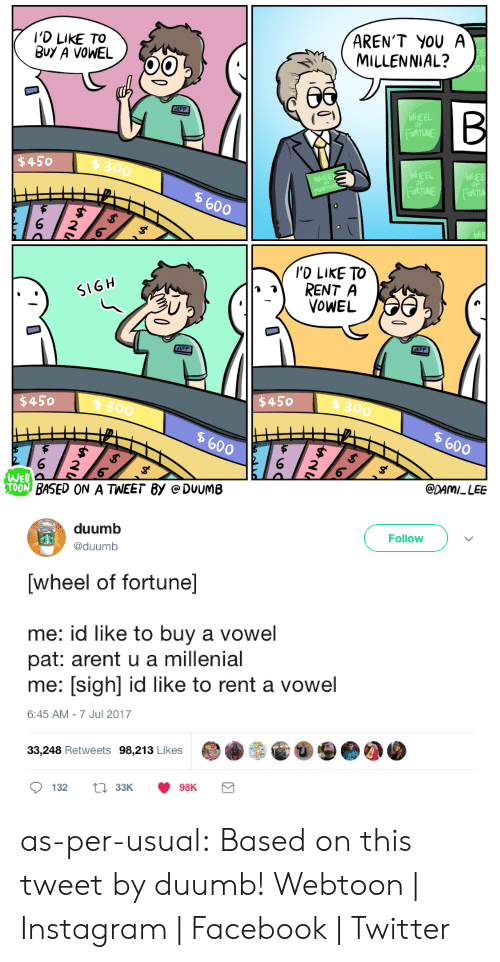 wheel of fortune: I'D LIKE TO  BuY A VOWEL  AREN'T YOU A  MILLENNIAL?  EFF  WHEE  OF  FORTUNE  $450  4 300  WHEEL  OF  WHEE  OF  WHEE  600  I'D LIKE TO  RENT A  OWEL  SIGH  EFF  EFF  450 300  $450  300  600  600  WEB  CDAMI LEE  BASED ON A TWEET 8y e DUUME   duumb  @duumb  Follow  [wheel of fortune]  me: id like to buy a vowel  pat: arent u a millenial  me: [sigh] id like to rent a vowel  6:45 AM-7 Jul 2017  33,248 Retweets 98,213 Likes as-per-usual: Based on this tweet by duumb! Webtoon | Instagram | Facebook | Twitter