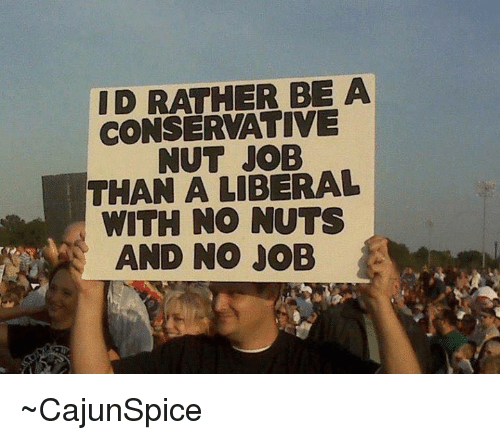 Memes, 🤖, and Nut Job: ID RATHER BE A  CONSERVATIVE  NUT JOB  THAN A LIBERAL  WITH NO NUTS  AND NO JOB  A ~CajunSpice