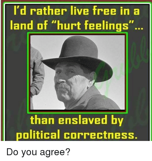 """Memes, Free, and Live: I'd rather live free in a  land of """"hurt feelings""""..  than enslaved by  political correctness. Do you agree?"""