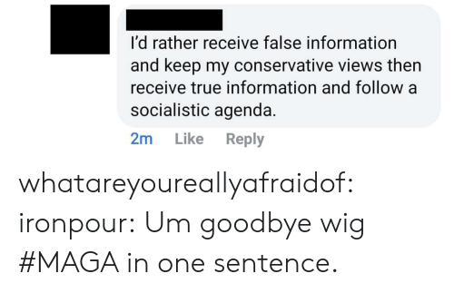Maga: I'd rather receive false information  and keep my conservative views then  receive true information and follow a  socialistic agenda.  2m Like Reply whatareyoureallyafraidof:  ironpour: Um goodbye wig  #MAGA in one sentence.