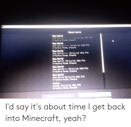 about time: I'd say it's about time I get back into Minecraft, yeah?
