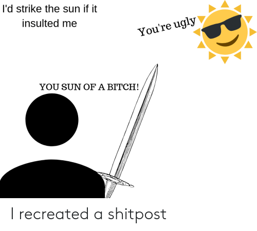 Youre Ugly: I'd strike the sun if it  insulted me  You're ugly  YOU SUN OF A BITCH! I recreated a shitpost