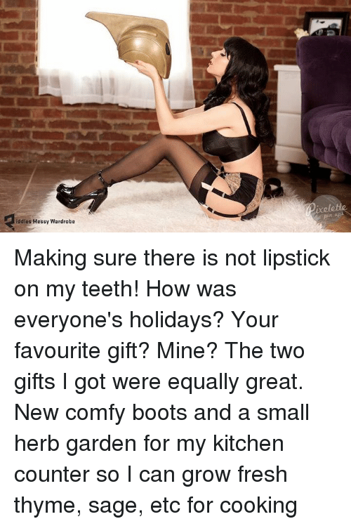 Fresh, Memes, and Boots: iddles Messy Wardrobe Making sure there is not lipstick on my teeth!   How was everyone's holidays?  Your favourite gift?   Mine? The two gifts I got were equally great. New comfy boots and a small herb garden for my kitchen counter so I can grow fresh thyme, sage, etc for cooking