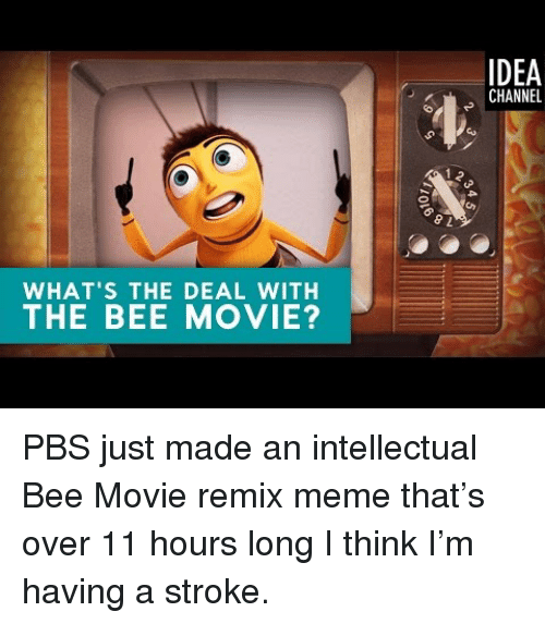 the bee movie: IDEA  CHANNEL  WHAT'S THE DEAL WITH  THE BEE MOVIE? <p>PBS just made an intellectual Bee Movie remix meme that's over 11 hours long I think I'm having a stroke.</p>