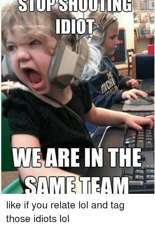 Lol, Memes, and Idiot: IDIOT  WE ARE IN THE  SAME TEAM like if you relate lol and tag those idiots lol