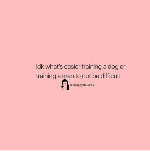 Girl Memes, Dog, and Man: idk what's easier training a dog or  training a man to not be difficult  @fuckboysfailures