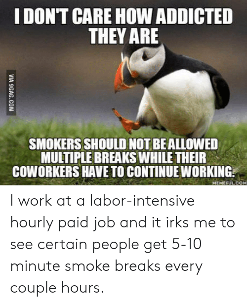 Intensive: IDONT CARE HOW ADDICTED  THEY ARE  SMOKERS SHOULD NOT BEALLOWED  MULTIPLE BREAKS WHILE THEIR  COWORKERS HAVE TO CONTINUE WORKING.  MEMEFUL.COM I work at a labor-intensive hourly paid job and it irks me to see certain people get 5-10 minute smoke breaks every couple hours.