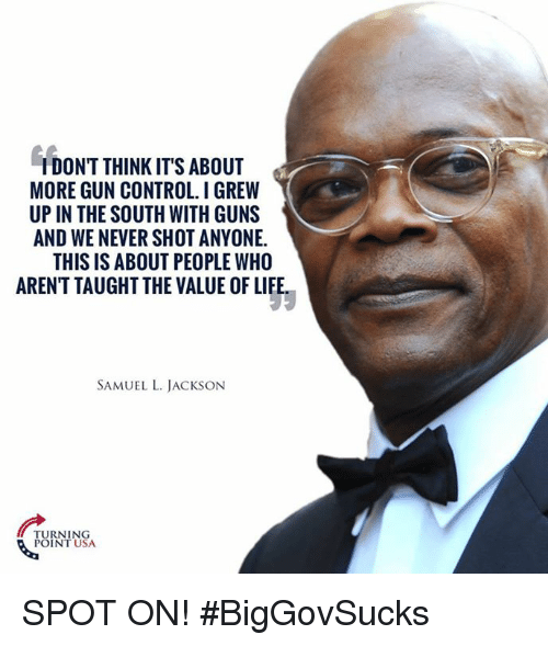 Guns, Life, and Memes: IDON'T THINK IT'S ABOUT  MORE GUN CONTROL. I GREW  UP IN THE SOUTH WITH GUNS  AND WE NEVER SHOT ANYONE.  THIS IS ABOUT PEOPLE WHO  AREN'T TAUGHT THE VALUE OF LIFE  SAMUEL L. JACKSON  TURNING  POINT USA SPOT ON! #BigGovSucks