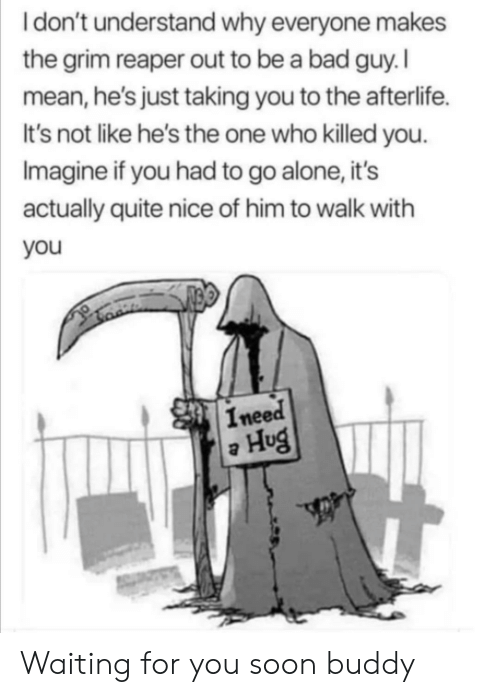 Ineed: Idon't understand why everyone makes  the grim reaper out to be a bad guy. I  mean, he's just taking you to the afterlife.  It's not like he's the one who killed you.  Imagine if you had to go alone, it's  actually quite nice of him to walk with  you  Ineed  Hug Waiting for you soon buddy
