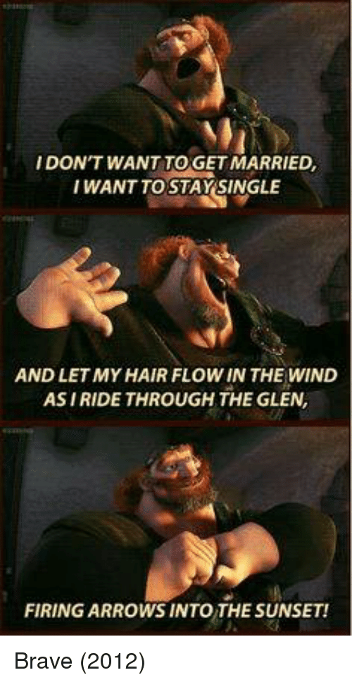 Memes, Brave, and Hair: IDON'T WANT TO GET MARRIED,  I WANT TO STAY SINGLE  AND LET MY HAIR FLOWIN THE WIND  ASIRIDE THROUGH THE GLEN  FIRING ARROWS INTO THE SUNSET! Brave (2012)