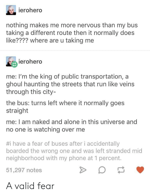 Public Transportation: ierohero  nothing makes me more nervous than my bus  taking a different route then it normally does  like???? where are u taking me  ierohero  me: I'm the king of public transportation, a  ghoul haunting the streets that run like veins  through this city-  the bus: turns left where it normally goes  straight  me: I am naked and alone in this universe and  no one is watching over me  #1 have a fear of buses after i accidentally  boarded the wrong one and was left stranded mid  neighborhood with my phone at 1 percent.  51,297 notes A valid fear
