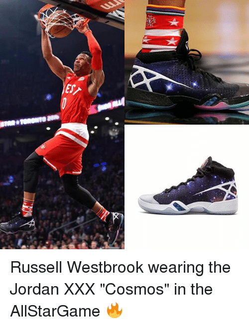 "Memes, Russell Westbrook, and Xxx: IES Russell Westbrook wearing the Jordan XXX ""Cosmos"" in the AllStarGame 🔥"