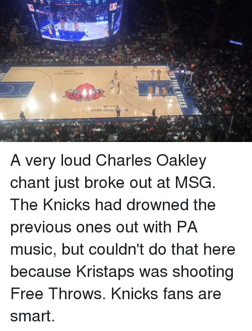 New York Knicks, Msg, and Corn: IEWYORK KNICKS  森  Bands corn  sa A very loud Charles Oakley chant just broke out at MSG. The Knicks had drowned the previous ones out with PA music, but couldn't do that here because Kristaps was shooting Free Throws. Knicks fans are smart.
